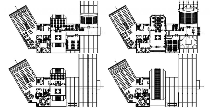 Biblio-tech college floor plan distribution drawing details dwg file
