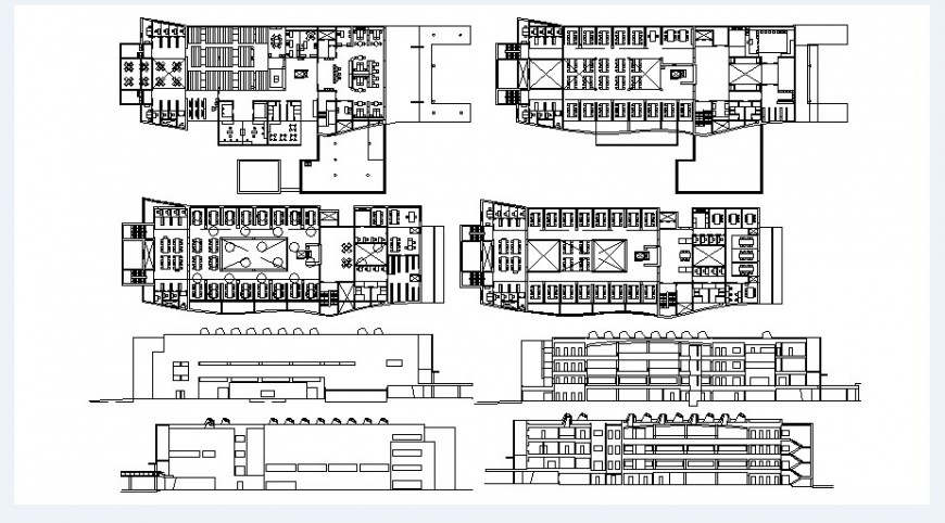 Bibliotech college elevation, section and floor plan drawing details dwg file