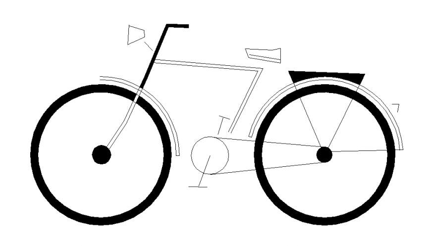 Bicycle Elevation side view design drawing detail