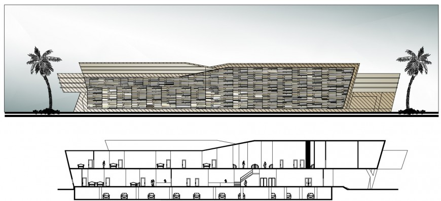 Big Complex sectional elevation view file