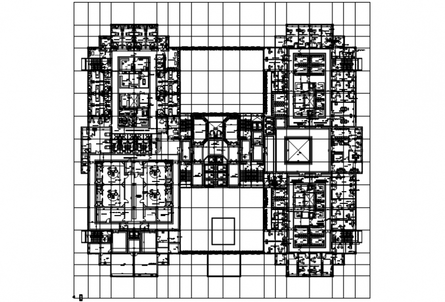 Big Hospital top view layout plan