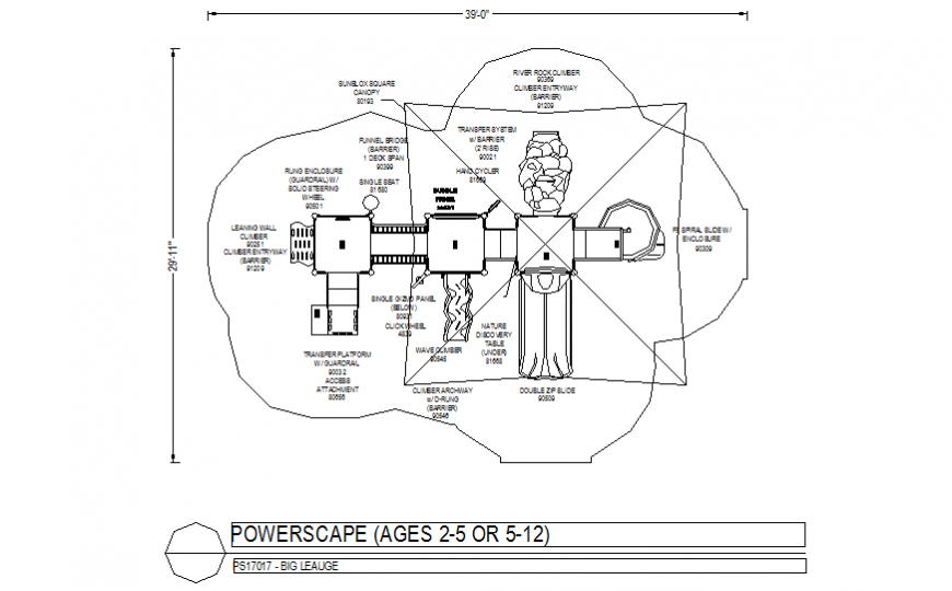 Big League power scape plan with playing area plan dwg file
