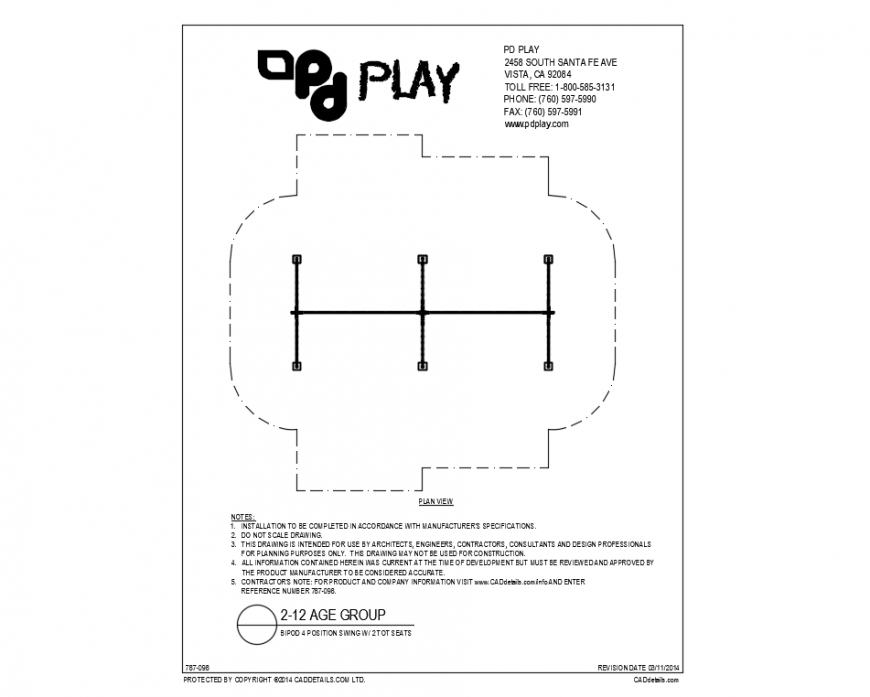 Bipod four position kids swings equipment details of garden dwg file