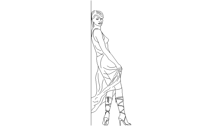 Block of girl who standing with support area dwg file