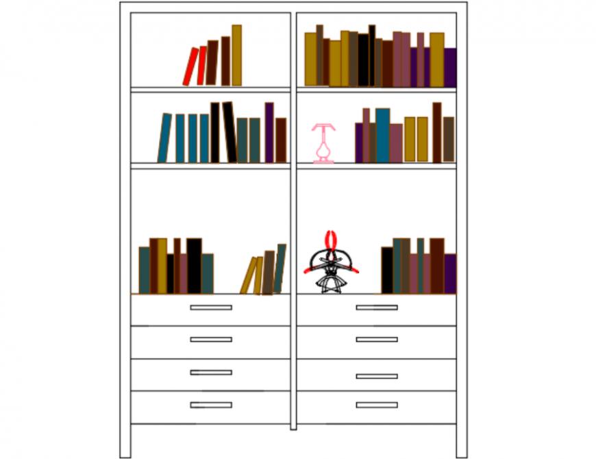 Book case front elevation unit