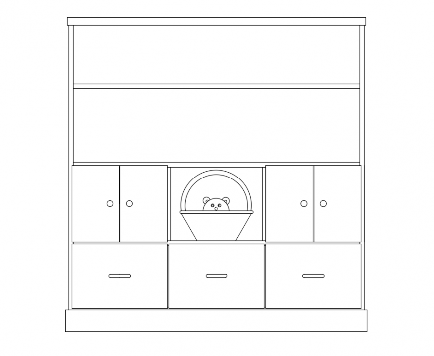 Book case with wardrobe for kids front view design dwg file