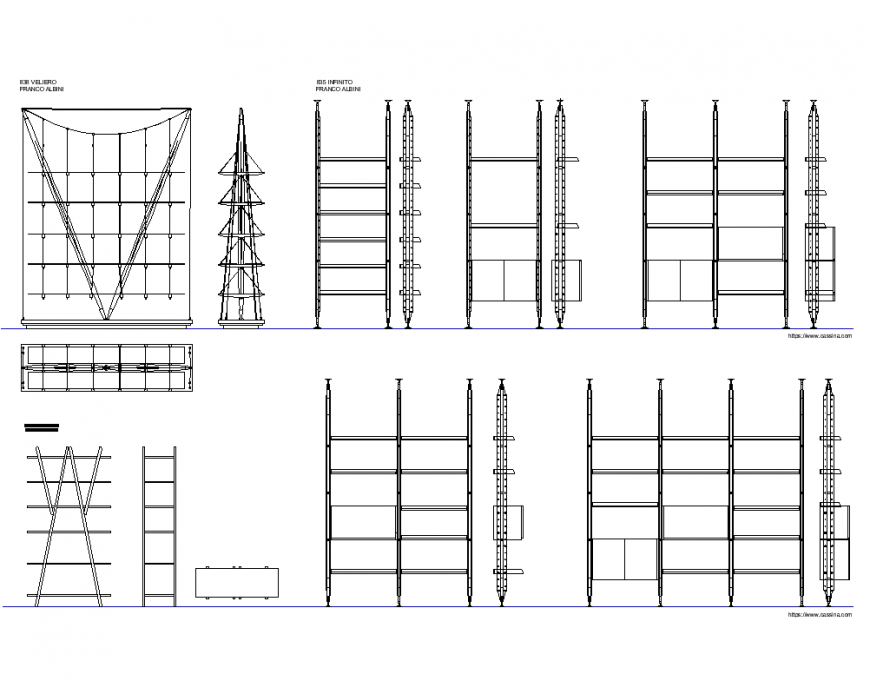 Bookcase elevation and section plan dwg file