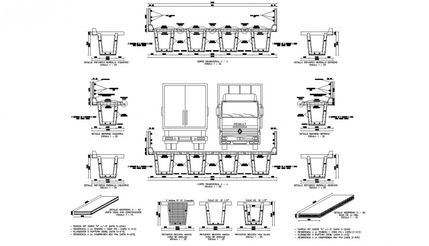 Bordillo reinforcement detail drawing in dwg AutoCAD file.