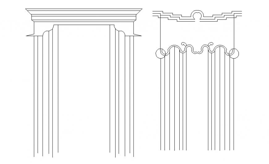 Both ordinary curtains elevation autocad file