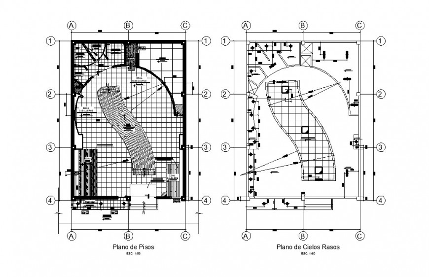 Boutique ground and first floor plan cad drawing details dwg file
