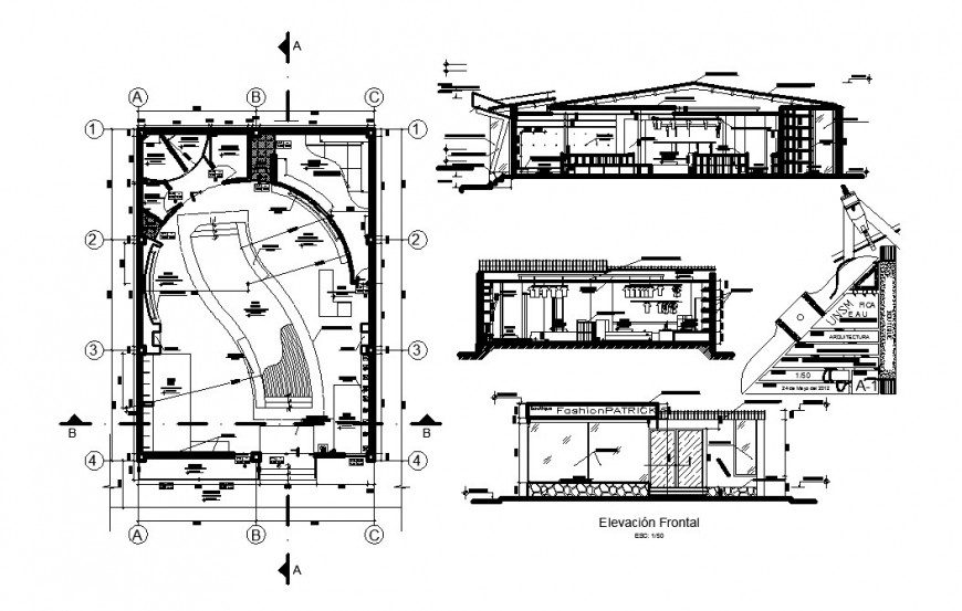 Boutique store elevation, section, floor plan and auto-cad drawing details dwg file