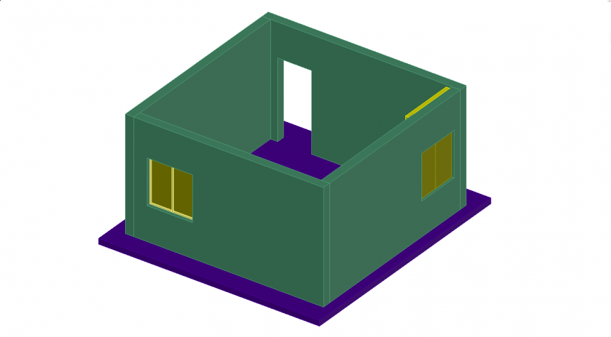 Box 3d model of the house in dwg AutoCAD file.