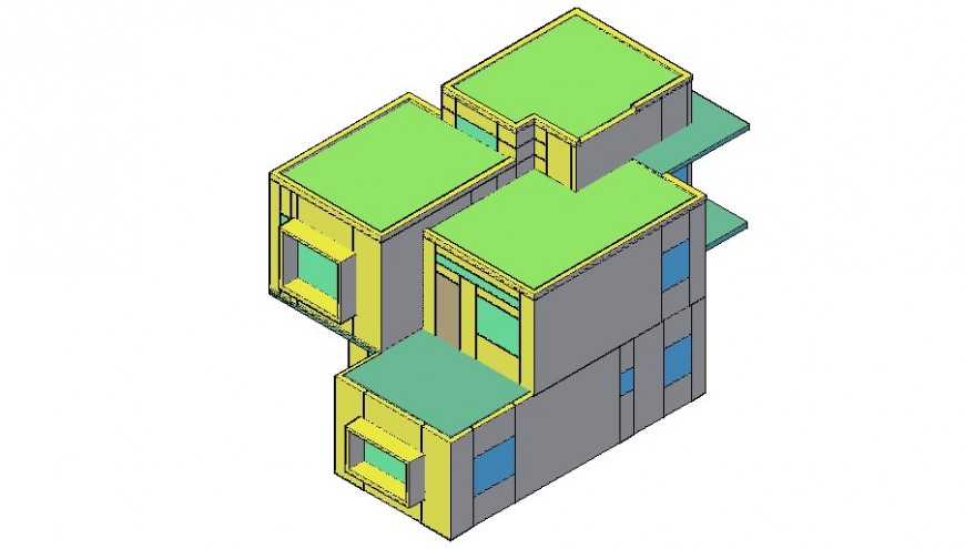 Box 3d model of the house with AutoCAD file.