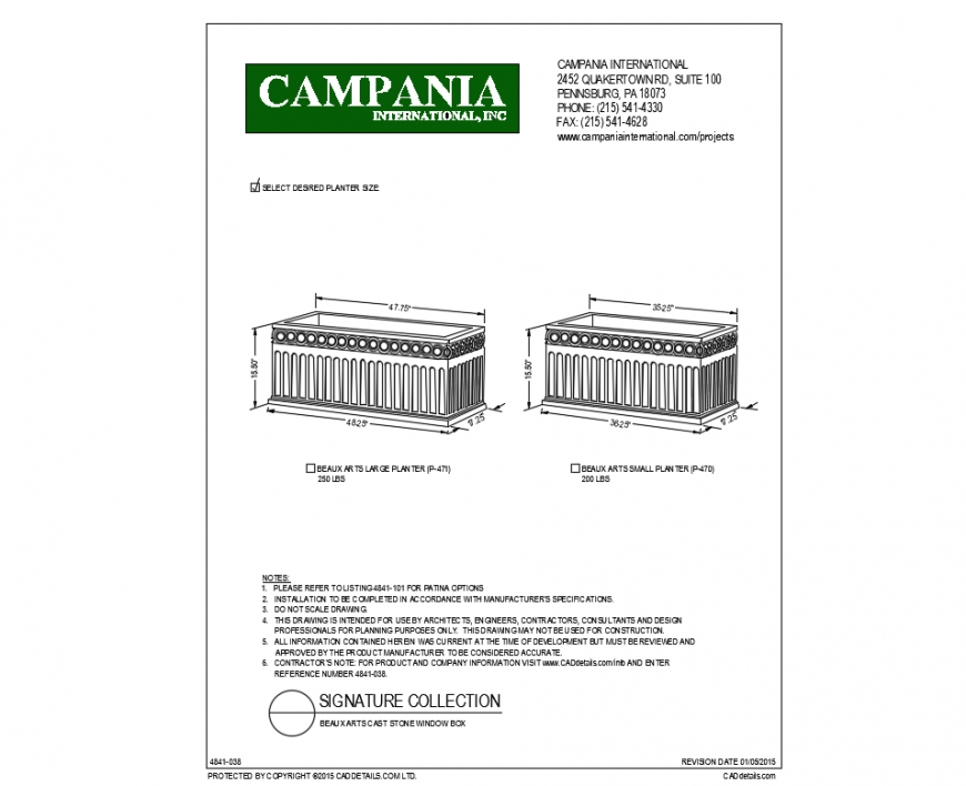 Box arts large and small planters cad blocks design dwg file