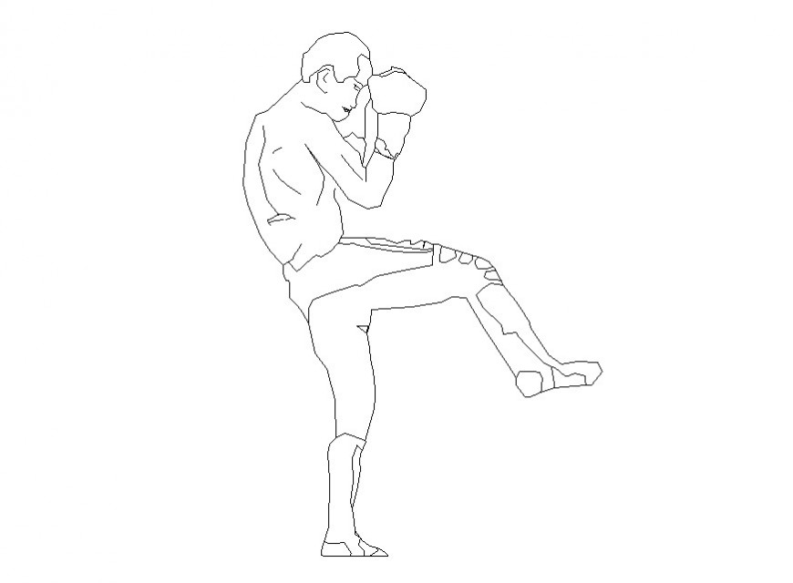 Boxer man 2d view detail CAD people block layout file in dwg format