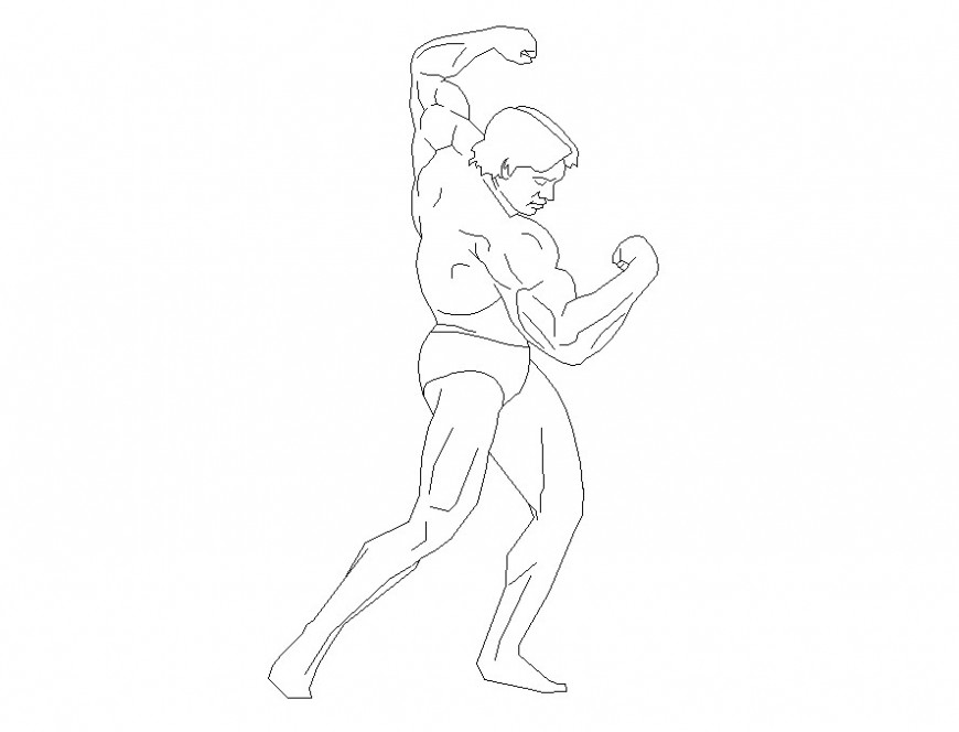 Boxer man detail 2d view CAD people block layout file in dwg format