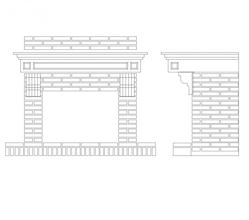 Brick fireplace plan layout file