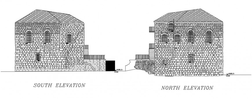 brick house elevation design cad file