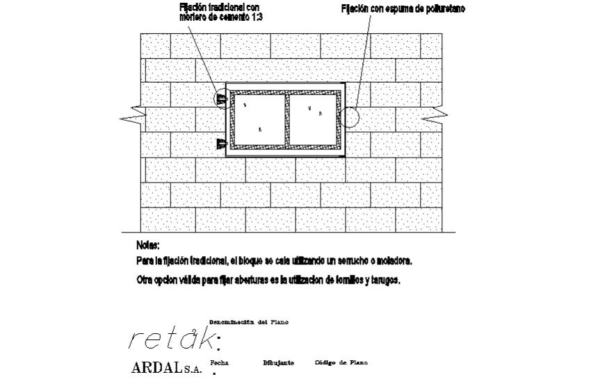 Brick wall window elevation autocad file