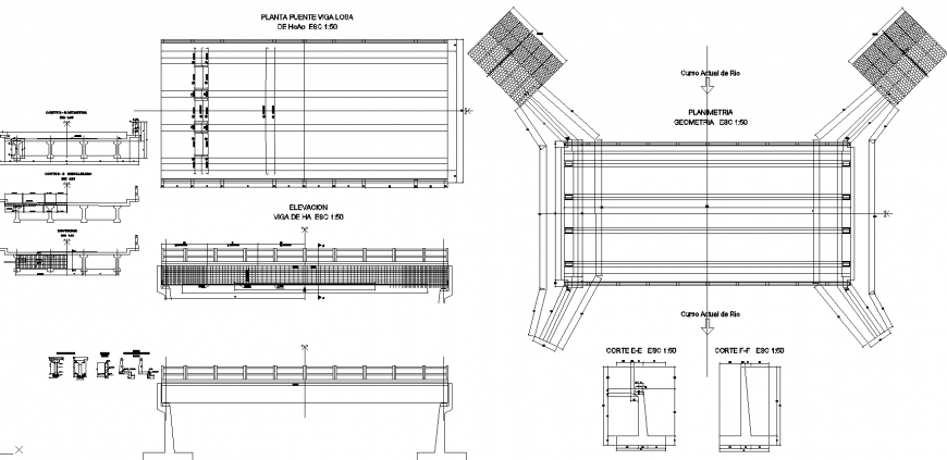 Bridge foundation plan and section drawing in dwg file.