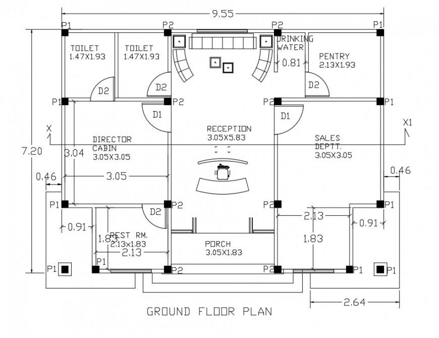 Builder office plan autocad file