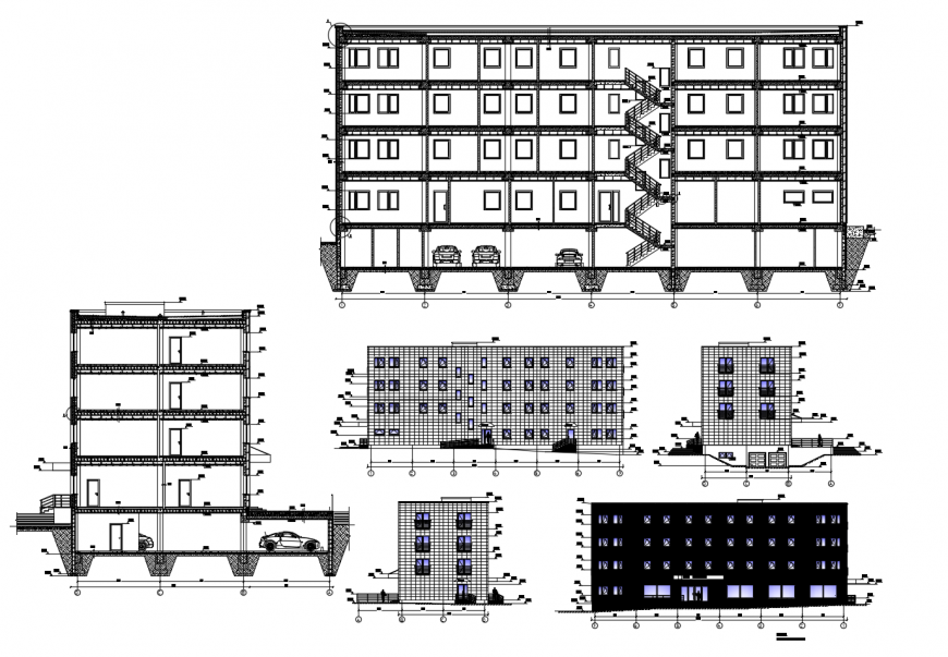 Building apartment detail 2d view CAD building block dwg file