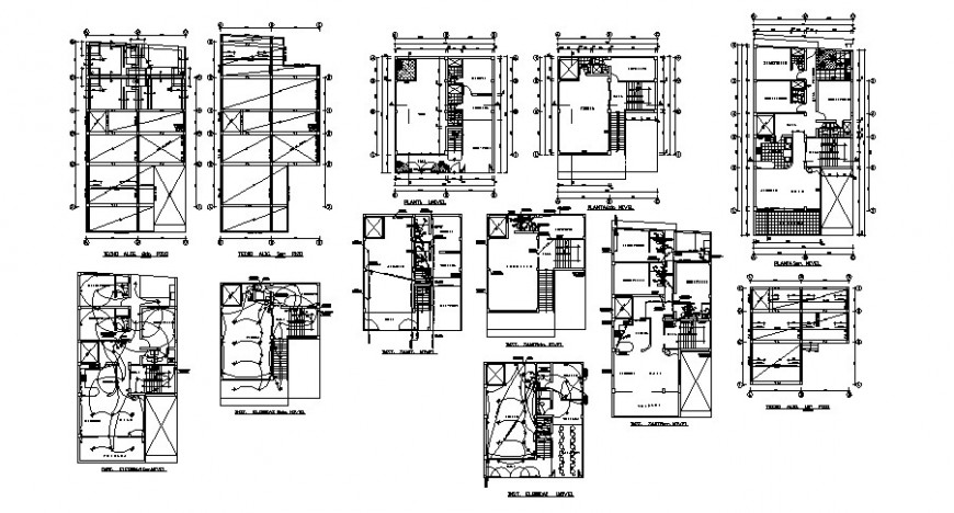Building apartment details work plan and electrical installation in autocad