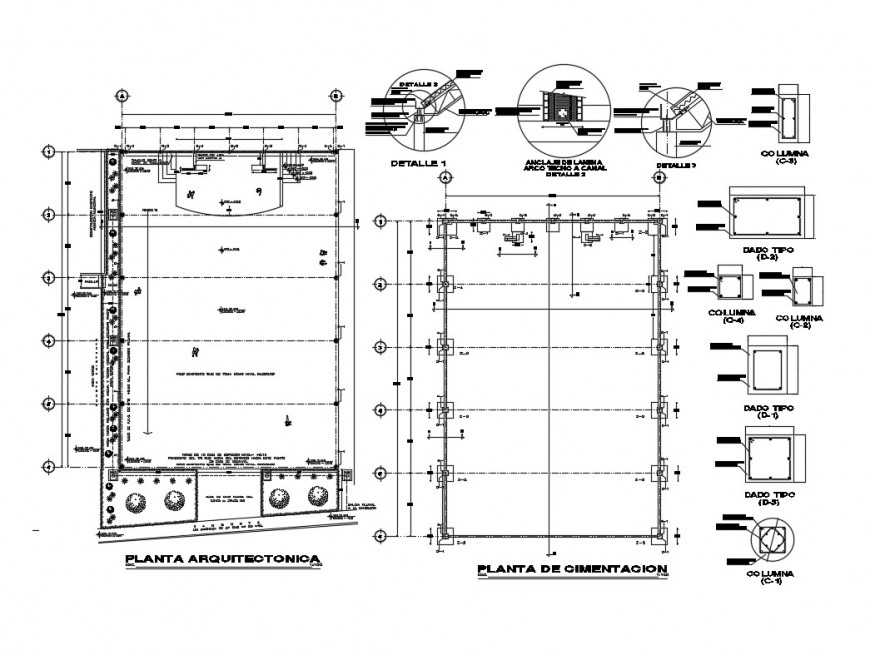 Building column installation plan autocad file
