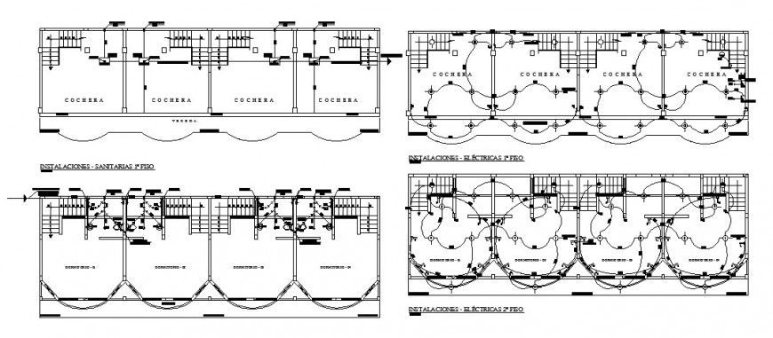 Building electrical installation 2d drawing layout file in dwg format