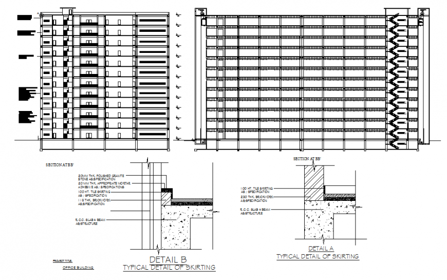 Building elevation detail and construction dwg file