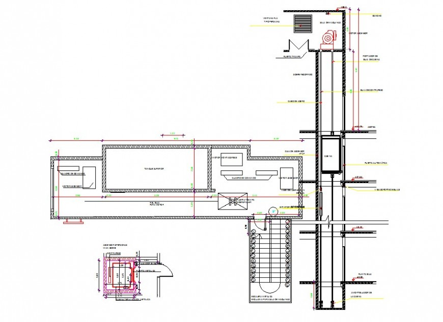 Building elevator detail drawing in dwg AutoCAD file.