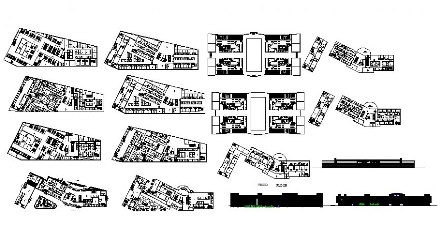 Building floor plan and elevation drawing 2d view in autocad