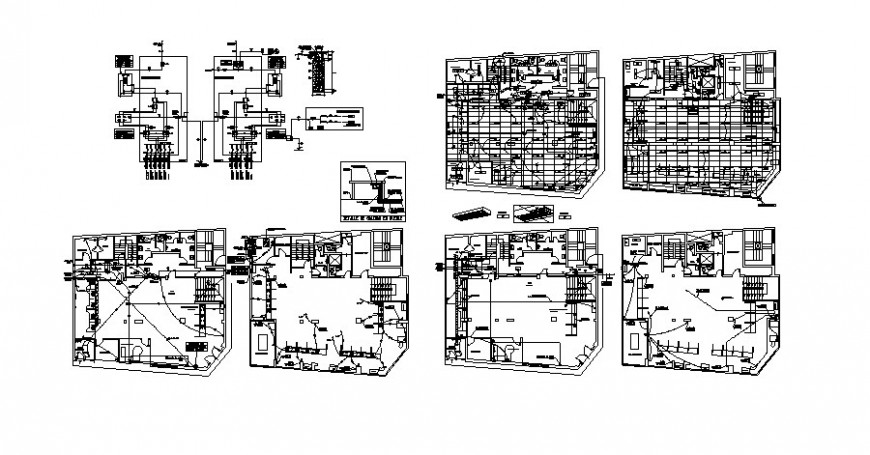 Building floor plan details with electrical installation layout autocad file
