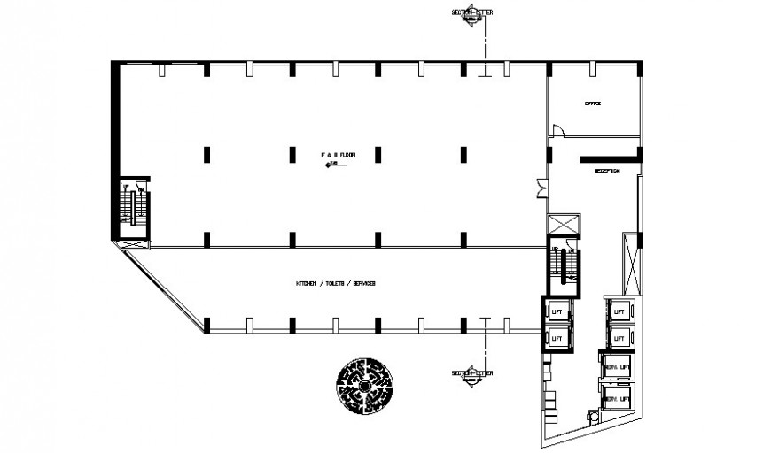 Building floor plan drawing details in AutoCAD software