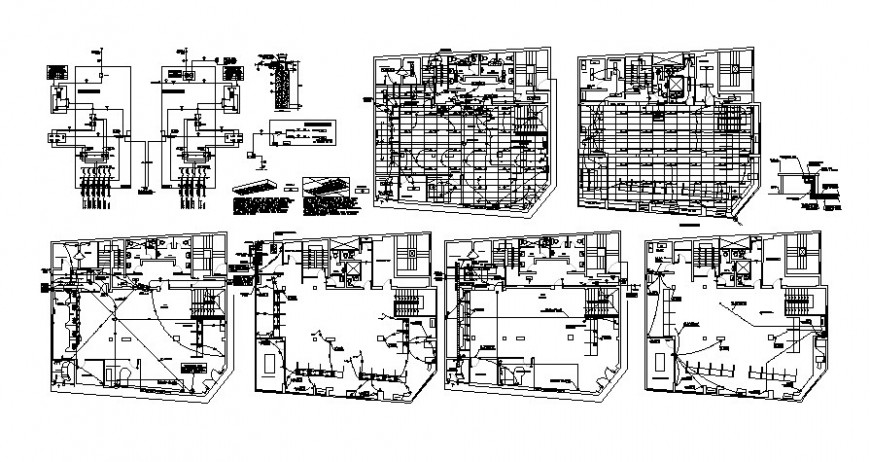 Building units drawings along with electrical installation details in autocad t