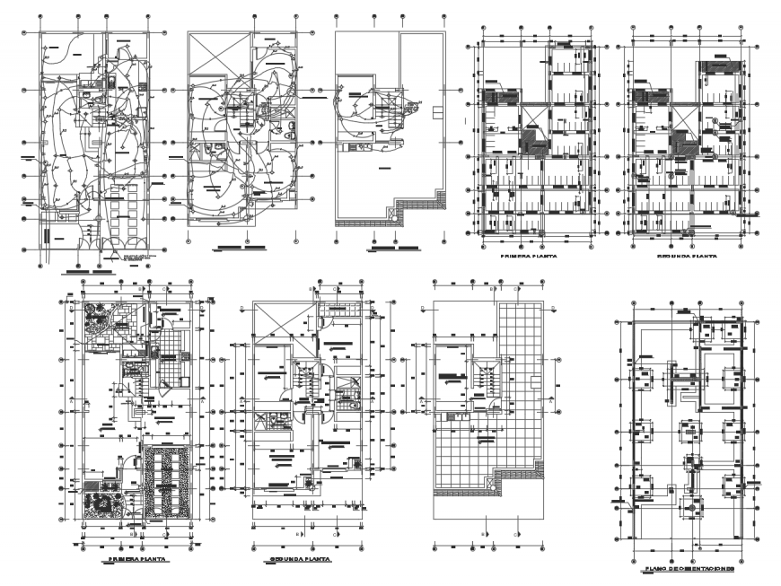 Building working plan with electrical installation 2d view dwg file
