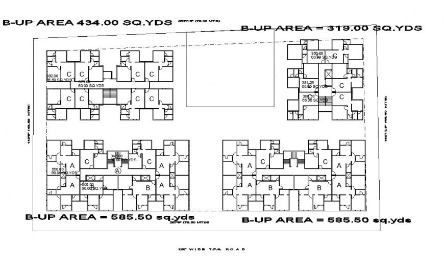 Built-up area 434 SQ.YDS building house detail dwg file