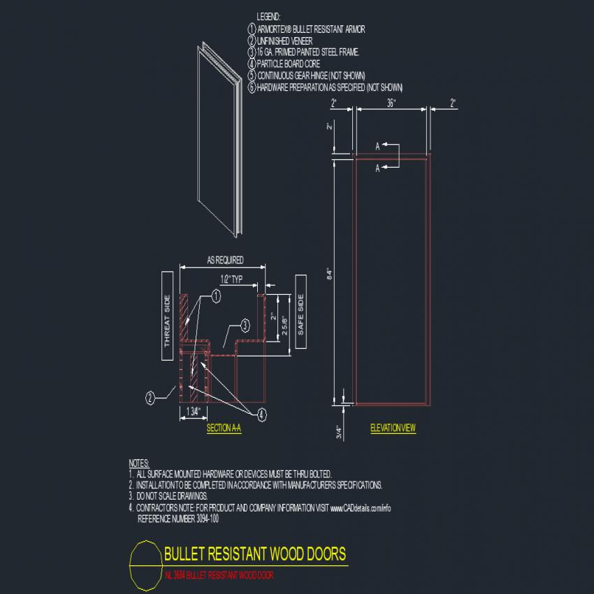 Bullet resistant wood doors autocad file