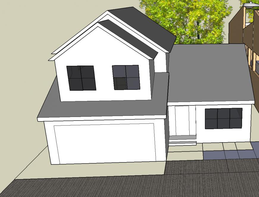 Buluva house 3d model cad drawing details skp file