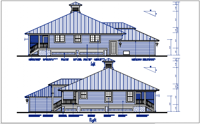 bungalow Left and right elevation details with dimension details