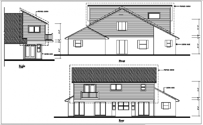 bungalow elevation view detail dwg file