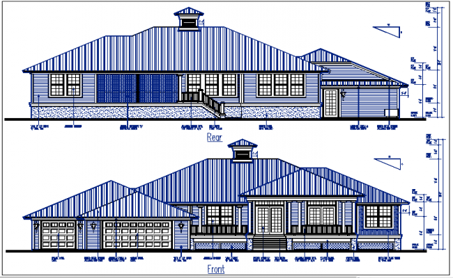 bungalow plan elevation view detail dwg file
