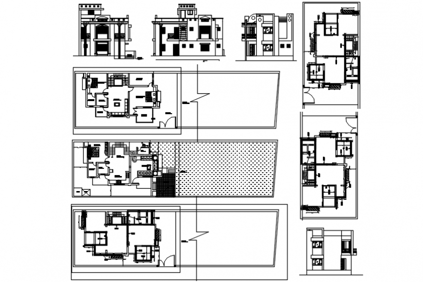 Bungalow 2d sectional elevation details and top view layout plan details