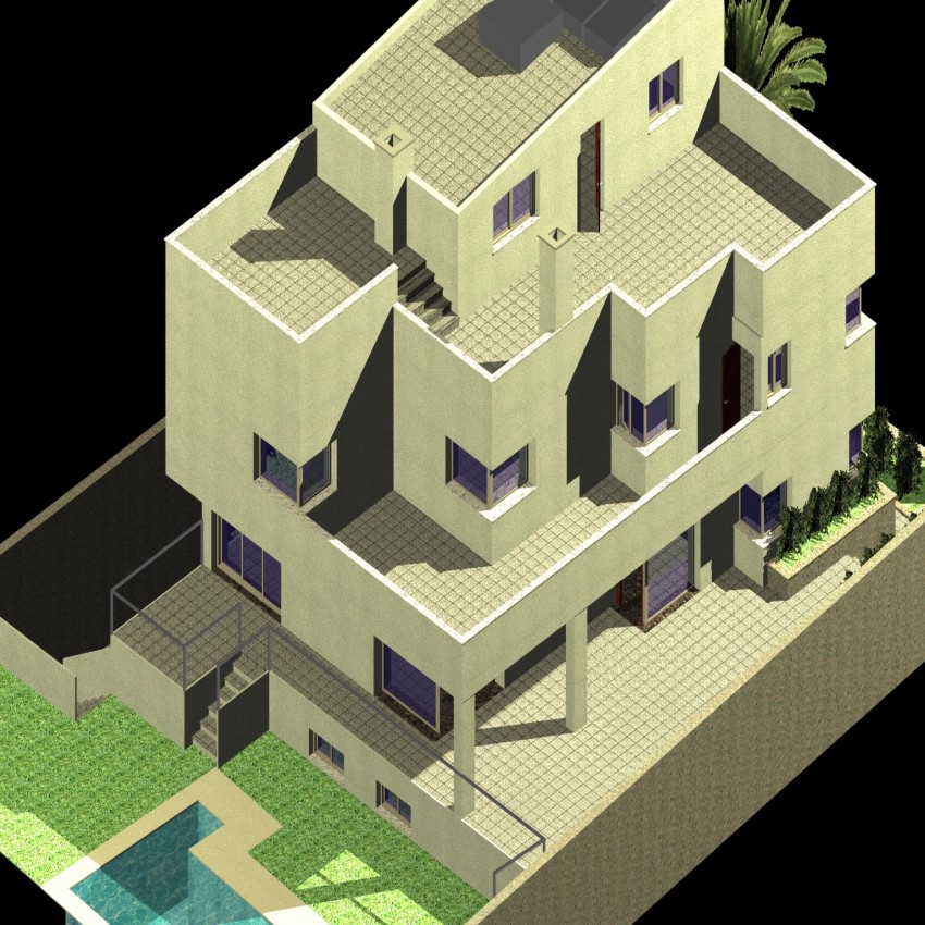 Bungalow 3d drawing in dwg file.