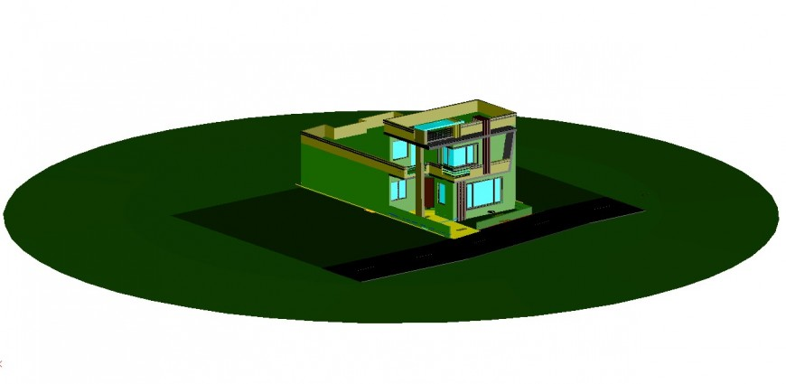 Bungalow 3d model design elevation dwg file