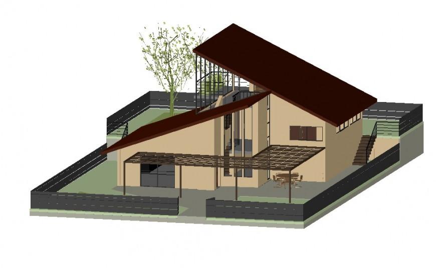 Bungalow 3d model elevation design dwg file