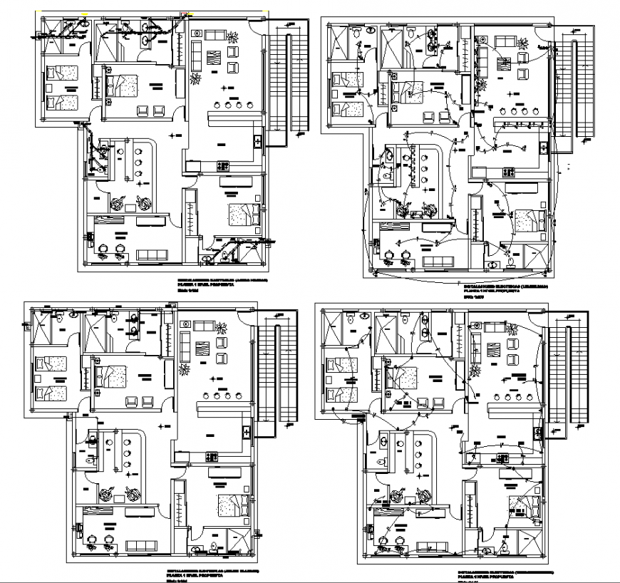 Bungalow all working plan drawing in dwg file.