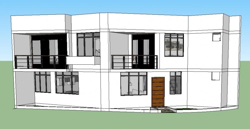 Bungalow building structure 3d model layout sketch-up file