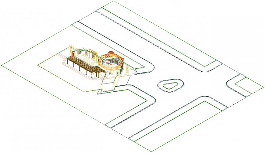 Bungalow building structure detail elevation 2d view autocad file