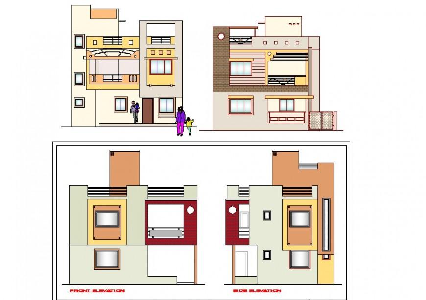 Bungalow building structure detail elevation 2d view CAD block layout autocad file